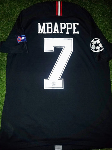 Mbappe Psg Paris Saint Germain JORDAN VAPORKNIT PLAYER ISSUE 2018 2019 Black Jersey SKU# 918923-012 L foreversoccerjerseys