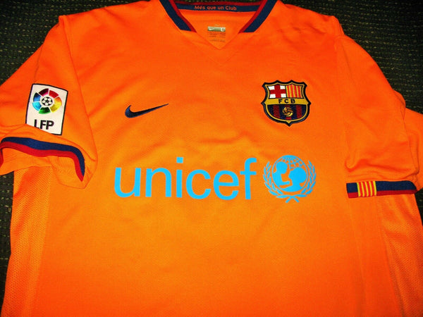 Messi Barcelona 2007 2008 Orange Jersey Shirt Camiseta Maglia L - foreversoccerjerseys