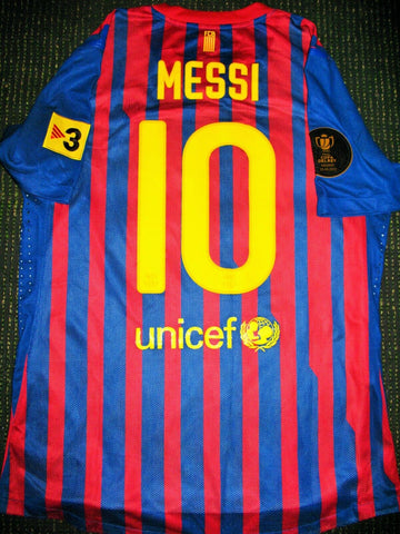 Messi Barcelona 2011 2012 MATCH ISSUED COPA DEL REY FINAL Jersey Shirt Camiseta L - foreversoccerjerseys