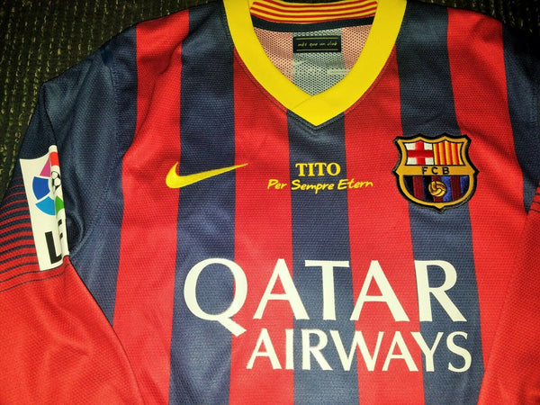 Messi Barcelona 2013 2014 MATCH ISSUED Jersey Shirt Camiseta Maglia L - foreversoccerjerseys