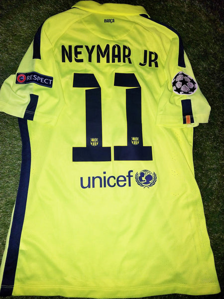 Neymar Barcelona 2014 2015 TREBLE SEASON UEFA PLAYER ISSUE Jersey Shirt Camiseta L foreversoccerjerseys
