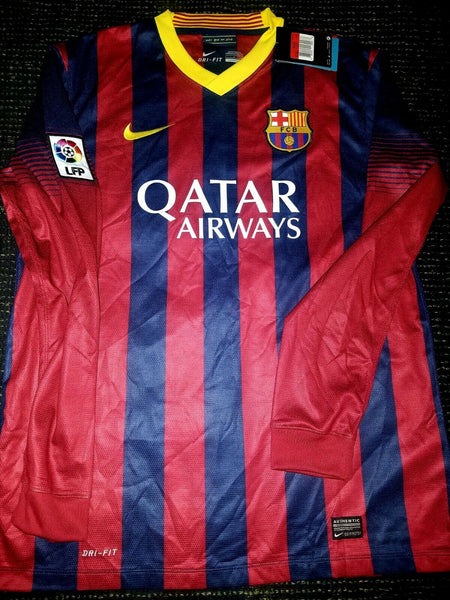Neymar Barcelona Long Sleeve 2013 2014 DEBUT SEASON Jersey Shirt Camiseta BNWT L - foreversoccerjerseys