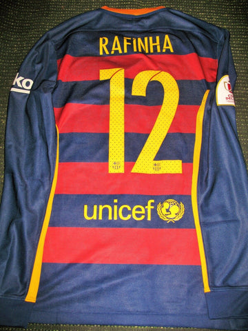 Rafinha Barcelona MATCH ISSUED 2015 2016 Long Sleeve Jersey Shirt Camiseta M - foreversoccerjerseys