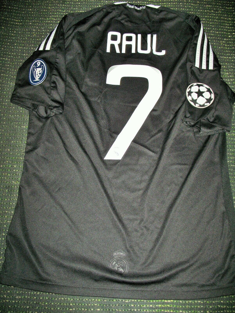 Raul Real Madrid 2008 2009 UEFA Black Jersey Shirt Camiseta Maglia M - foreversoccerjerseys