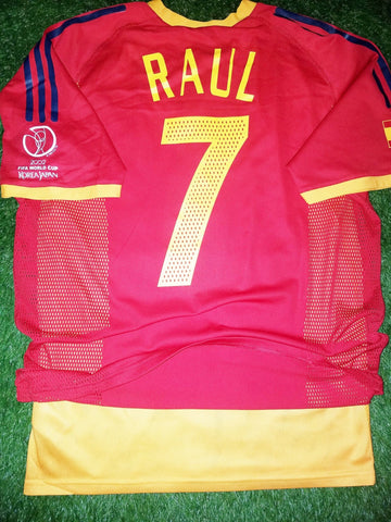 Raul Spain 2002 WORLD CUP PLAYER ISSUE Jersey Shirt Camiseta Espana M foreversoccerjerseys