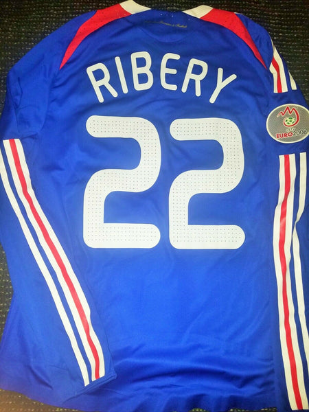 Ribery France 2007 MATCH WORN EURO CUP QUALIFIERS Long Sleeve Jersey Maillot Shirt M - foreversoccerjerseys