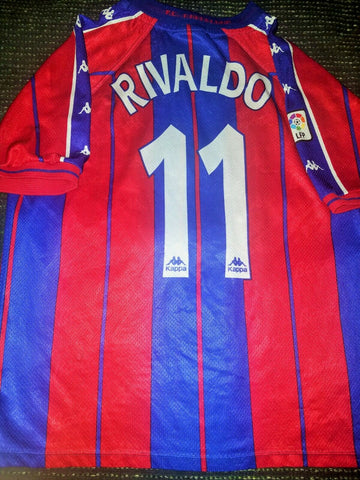 Rivaldo Kappa Barcelona PLAYER ISSUE 1997 1998 Jersey Shirt Camiseta M - foreversoccerjerseys