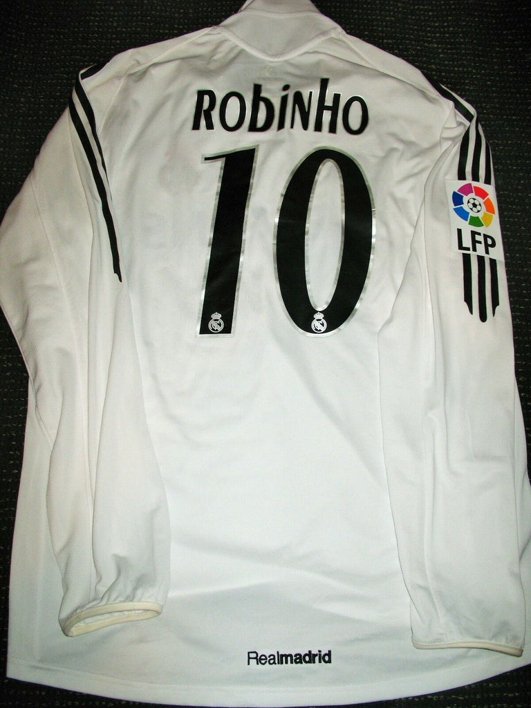 Robinho Real Madrid MATCH WORN 2005 2006 Long Sleeve Jersey Shirt Camiseta L - foreversoccerjerseys