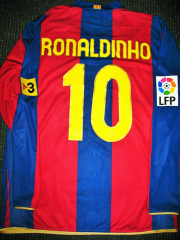 Ronaldinho Barcelona 2007 2008 PLAYER ISSUE Jersey Shirt Camiseta Maglia L - foreversoccerjerseys
