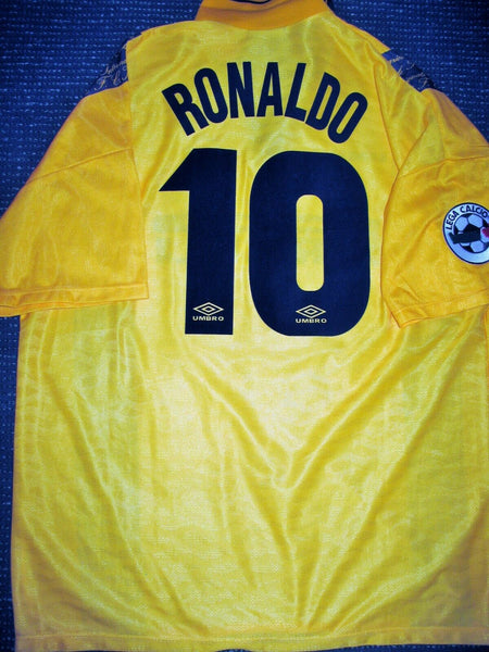 Ronaldo Inter Milan 1997 1998 DEBUT Yellow Jersey Shirt Maglia XL - foreversoccerjerseys
