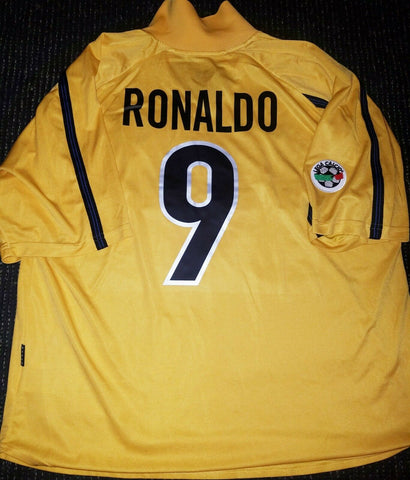 Ronaldo Inter Milan 1999 2000 Yellow Jersey Shirt Maglia XL