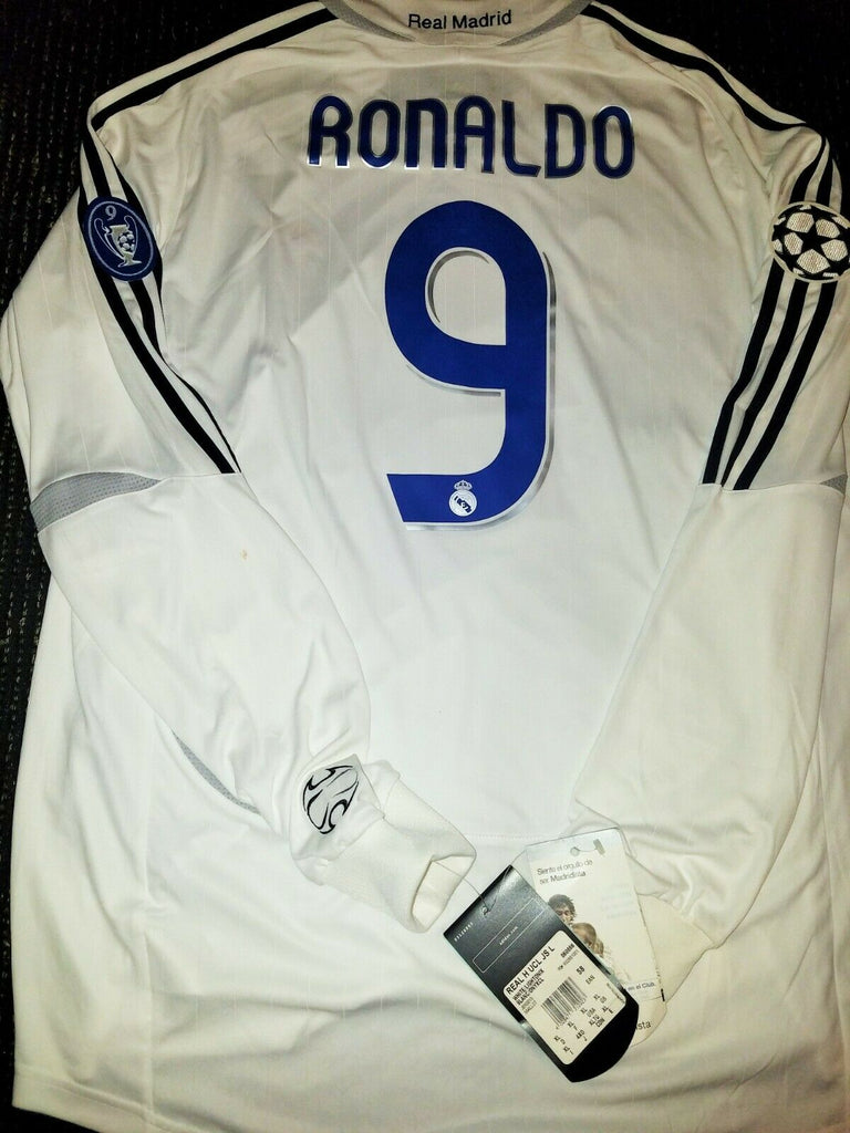 Ronaldo Real Madrid 2006 2007 UEFA Long Sleeve Jersey Camiseta Shirt BNWT XL - foreversoccerjerseys