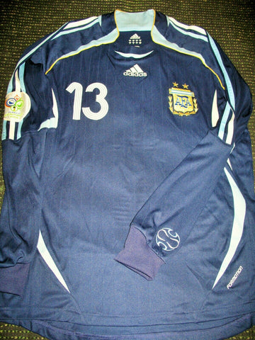 Scaloni Argentina 2006 World Cup MATCH ISSUED Blue Jersey Shirt Camiseta M - foreversoccerjerseys