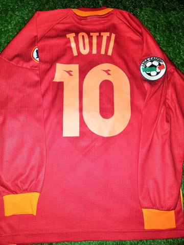 Totti As Roma Diadora 1997 1998 Long Sleeve Jersey Maglia Shirt M foreversoccerjerseys