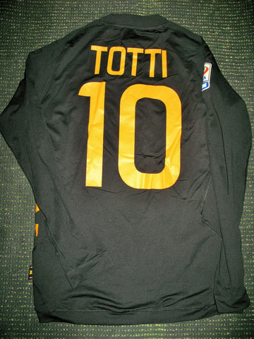 Totti As Roma Kappa 2011 2012 Black Long Sleeve Jersey Maglia Shirt M - foreversoccerjerseys