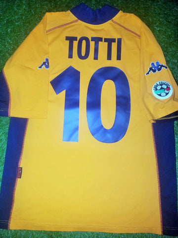 Totti As Roma Kappa Orange 3rd Jersey 2001 2002 Shirt Maglia XL - foreversoccerjerseys