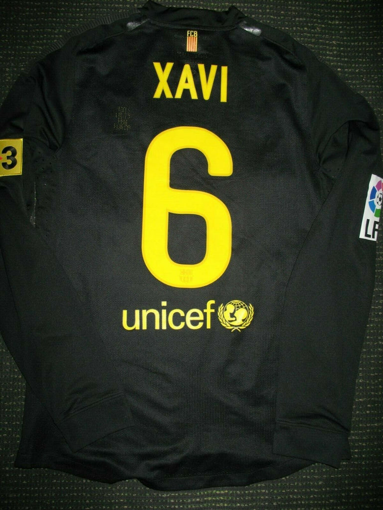 Xavi Barcelona Match Issued Black Long Sleeve Jersey 2011 2012 Shirt Camiseta M - foreversoccerjerseys