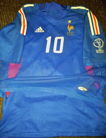 Zidane France 2002 World Cup PLAYER ISSUE Jersey Maillot Shirt Trikot L - foreversoccerjerseys