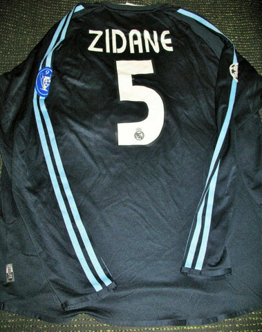 Zidane Real Madrid 2003 2004 UEFA Long Sleeve Navy Jersey Shirt Camiseta Maillot L - foreversoccerjerseys