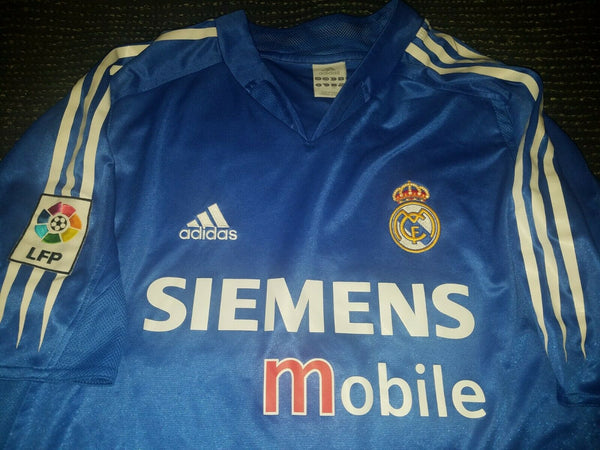 Zidane Real Madrid Blue Jersey 2004 2005 Camiseta Shirt L - foreversoccerjerseys