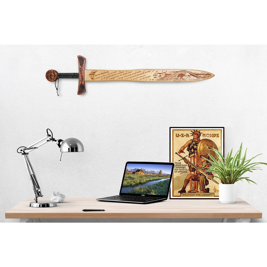Scout - Wooden Sword Wall Plaque Non Custom for Eagles