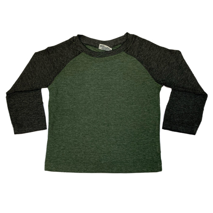 Long Sleeve Raglan Thermal - Olive and Black