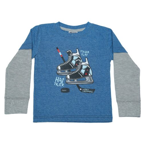 Long Sleeve 2Fer Shirt w Thermal Sleeves - Hockey Skates