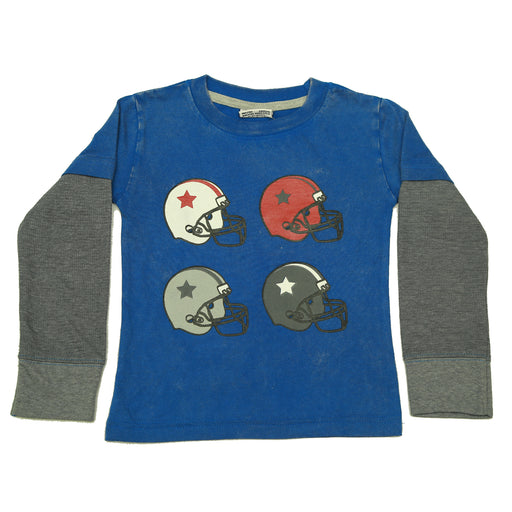 Long Sleeve 2Fer Shirt w Thermal Sleeves - Football Helmets on Cobalt