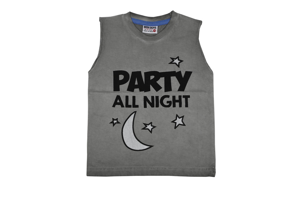 Muscle Tee - Party All Night - Grey