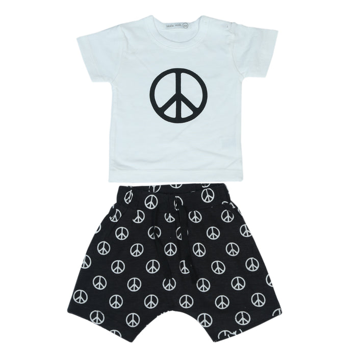 NEW Little Mish Shorts Set - Black Peace Signs (4497804558411)