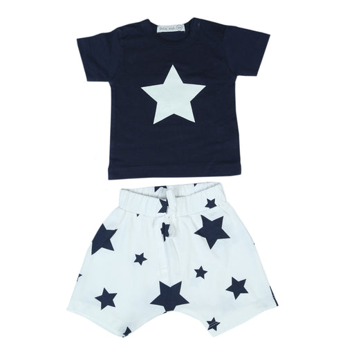 NEW Little Mish Shorts Set - White/Navy Stars (4500521680971)