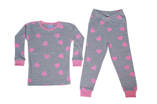 Pajamas - Fuschia Hearts on Heather Gray (available in sizes 12M-18M-24M)