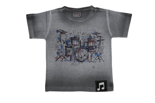 T-Shirt - Drumset - White/Gray Ombre