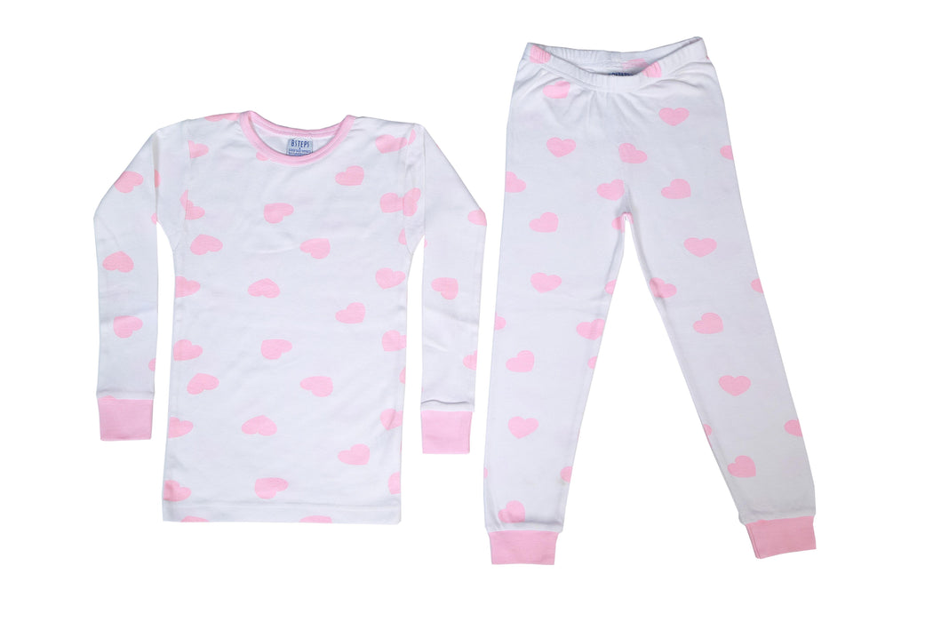 Pajamas - Pink Hearts on White