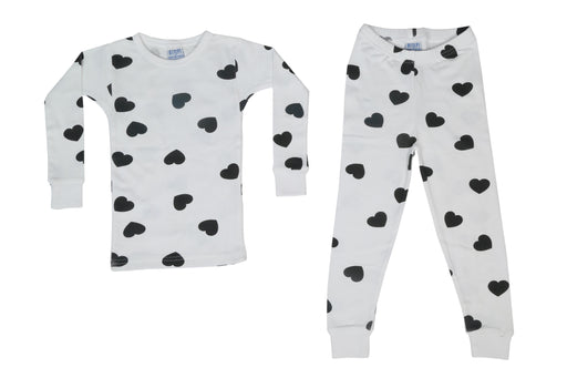 Pajamas - Black Hearts on White (available sizes 12M-18M-24M)