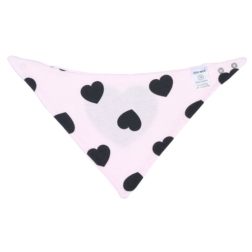 NEW Little Mish Thermal Reversible Bandana Bib - Pink with Black Hearts (3975251066955)