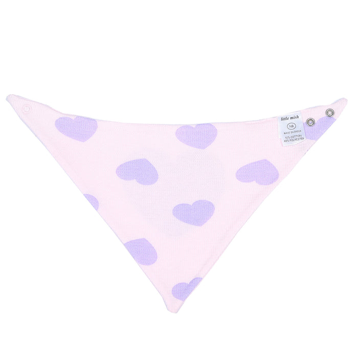 NEW Little Mish Thermal Reversible Bandana Bib - Pink with Lilac Hearts (3975252672587)