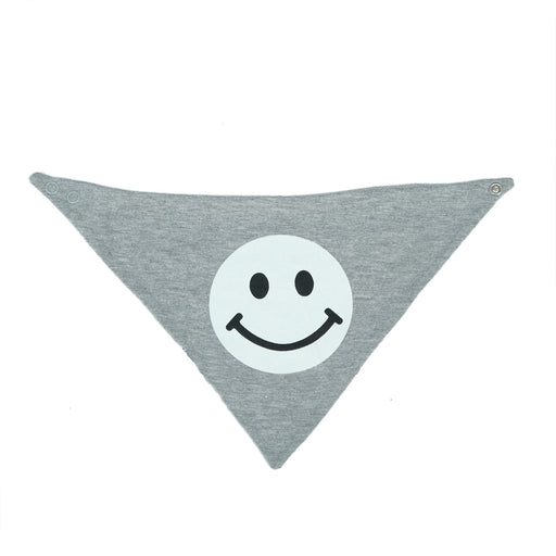 NEW Little Mish Reversible Bandana Bib - Heather Gray Smileys (4500482687051)