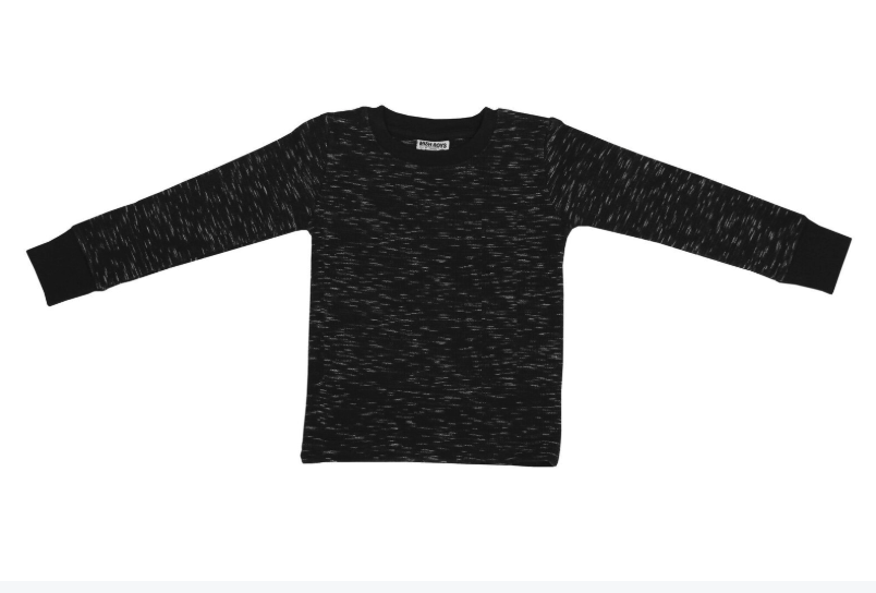 Long Sleeve Slub Thermal Shirt-Black