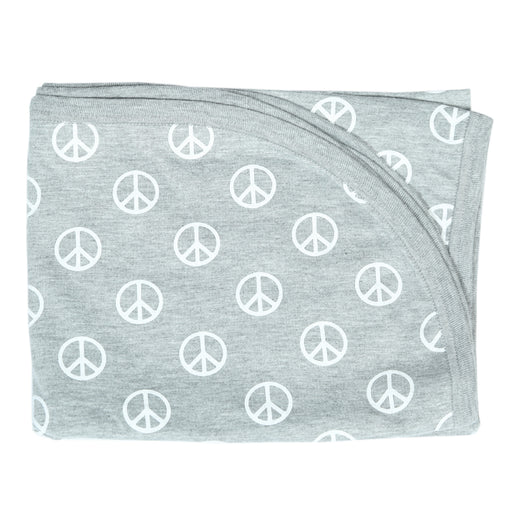 NEW Little Mish Blanket - Heather Gray Peace Signs (4500506738763)