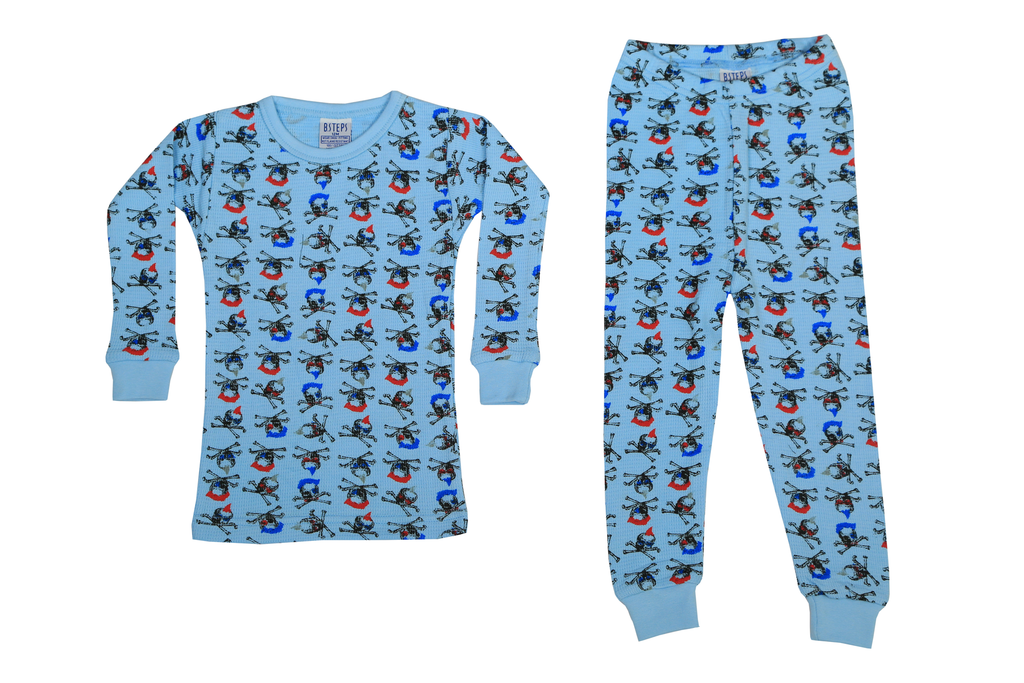 Boys Thermal 2 piece set - Blue Party Skulls