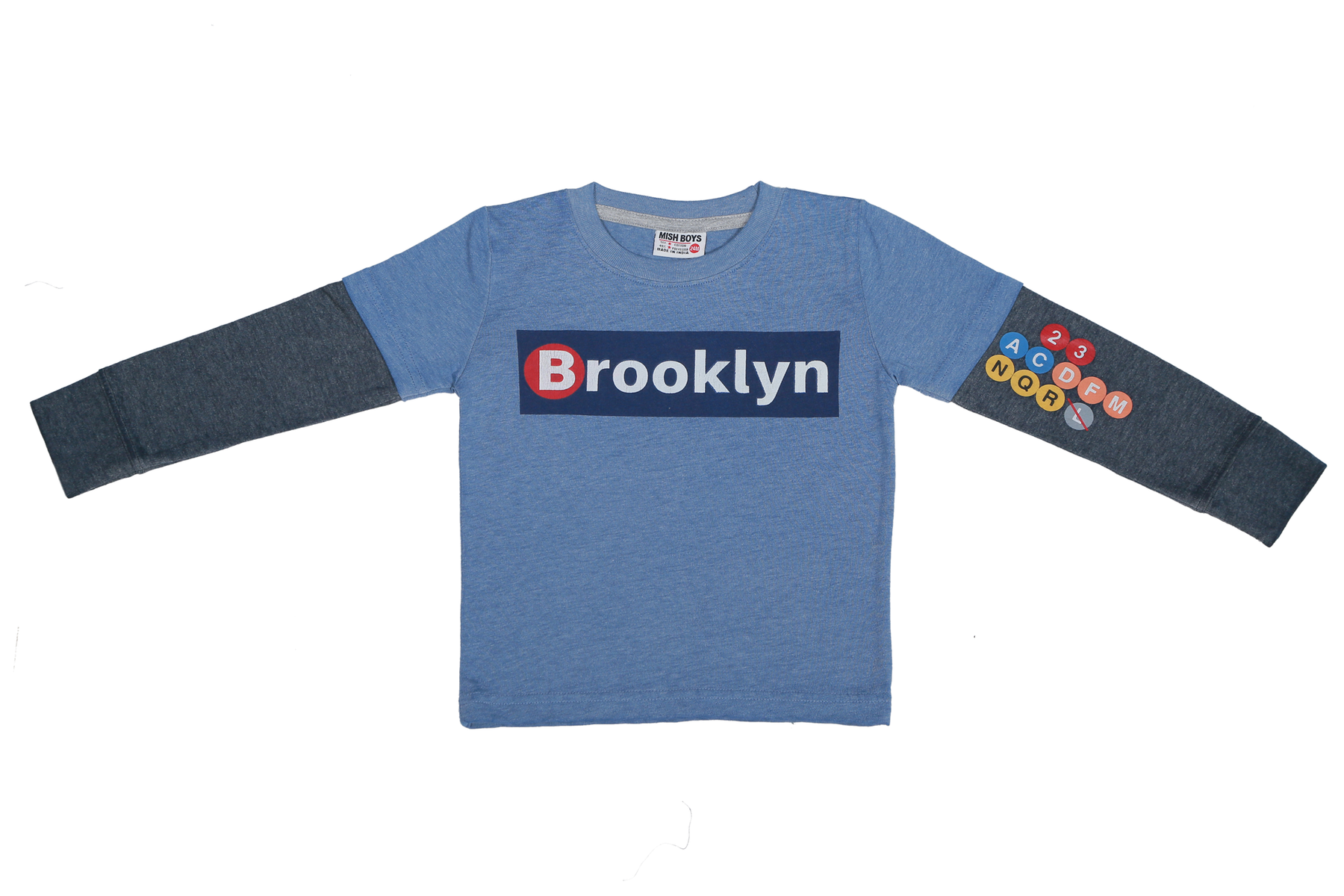 Long Sleeve 2Fer Shirt w Thermal Sleeves - Brooklyn (available in Size 3M and 9M)