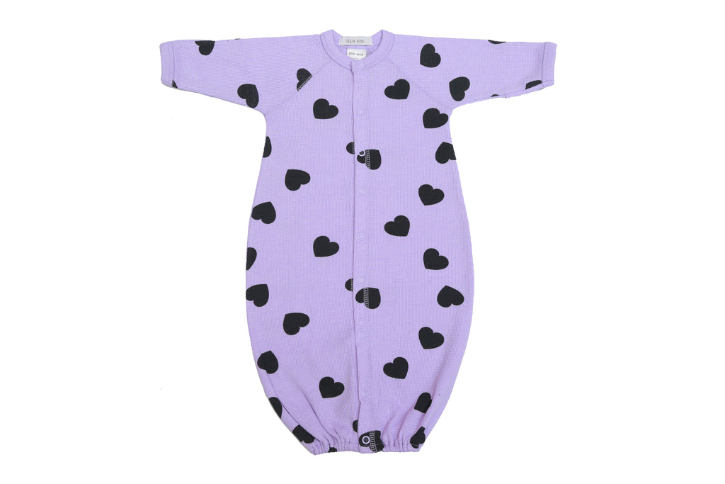 Little Mish Infant Girls Heart Thermal Converter Gown - Lilac