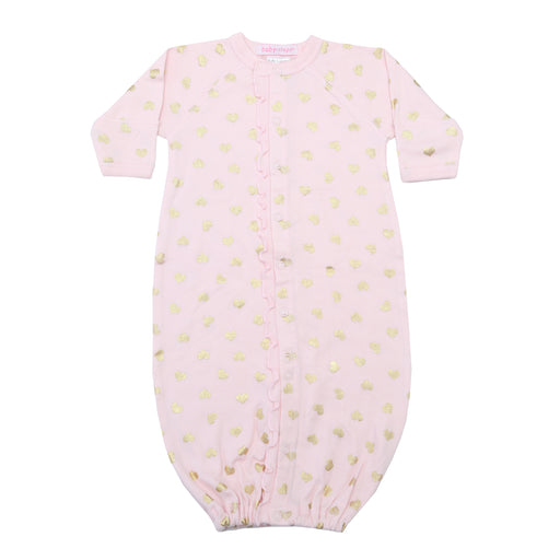 NEW Converter Gown with ruffle - Gold Foil Hearts on Pink (4340246315083)