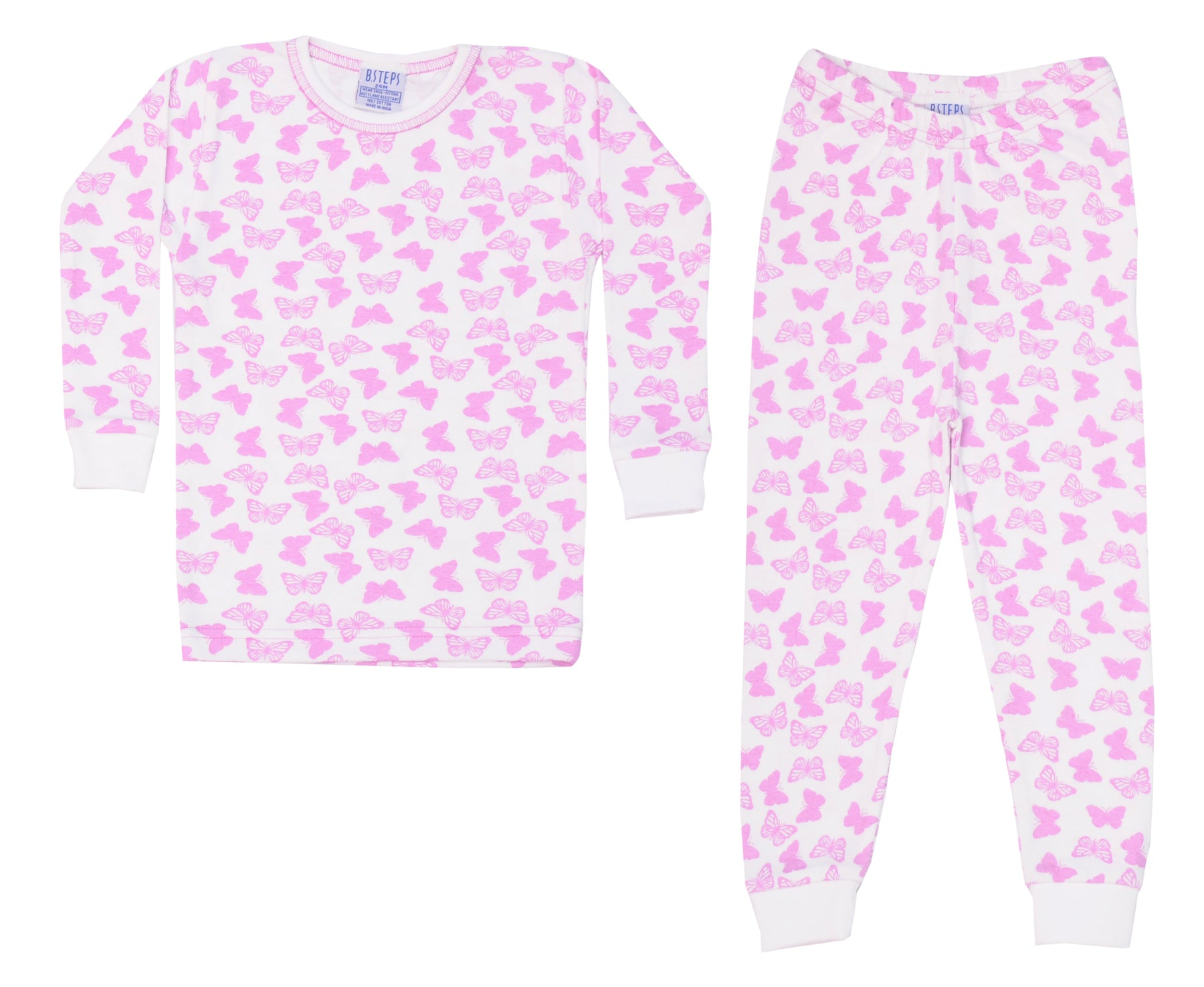 Pajamas - Lilac Butterflies on White
