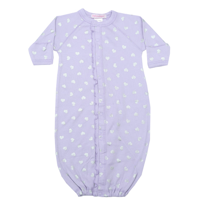 NEW Converter Gown with ruffle- Silver Foil Hearts on Lilac (4340244086859)