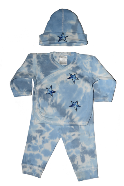 Baby Boy 3 Piece Tie Dye Take Me Home Blue Camo Stars