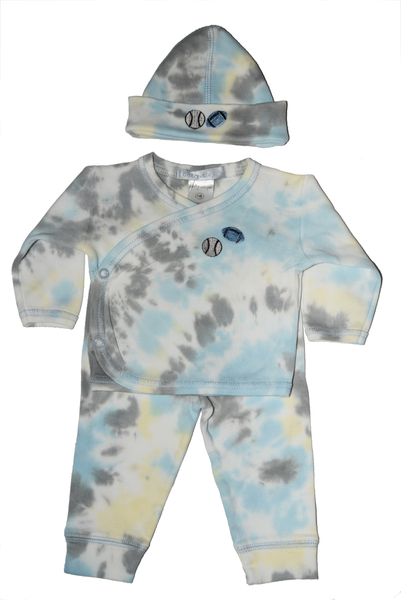 Baby Boy 3 Piece Tie Dye Take Me Home Blue/Grey Sports