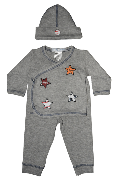 Baby Boy 3 Piece Take Me Home Scattered Sports Stars/Baseball on Hat
