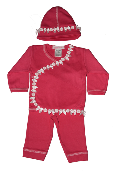 Baby Girl 3 Piece Take Me Home - Roses and Bows Ribbon- Fuchsia